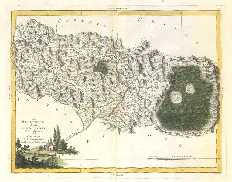 """Associate Product """"Il Bellunese diviso…"""". Belluno province, Veneto. ZATTA 1784 old antique map"""