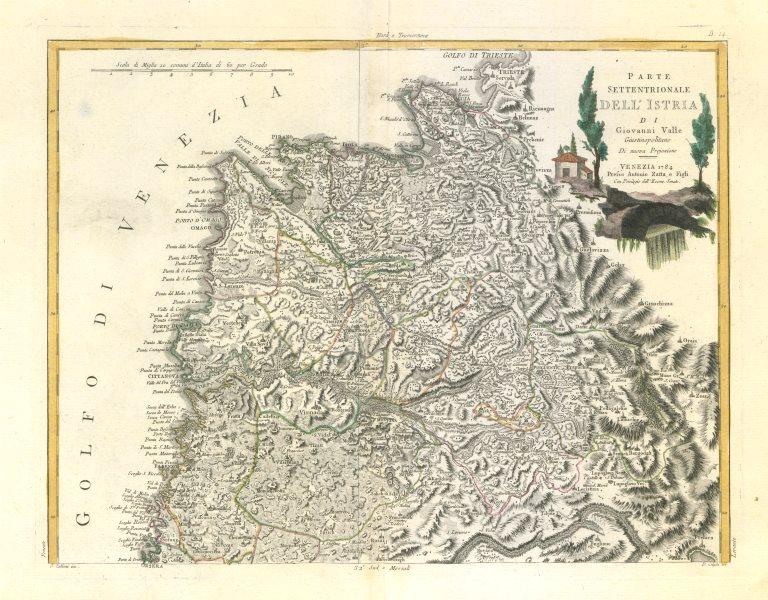 """Associate Product """"Parte Settentrionale dell'Istria…"""". Northern Istria. Croatia. ZATTA 1784 map"""