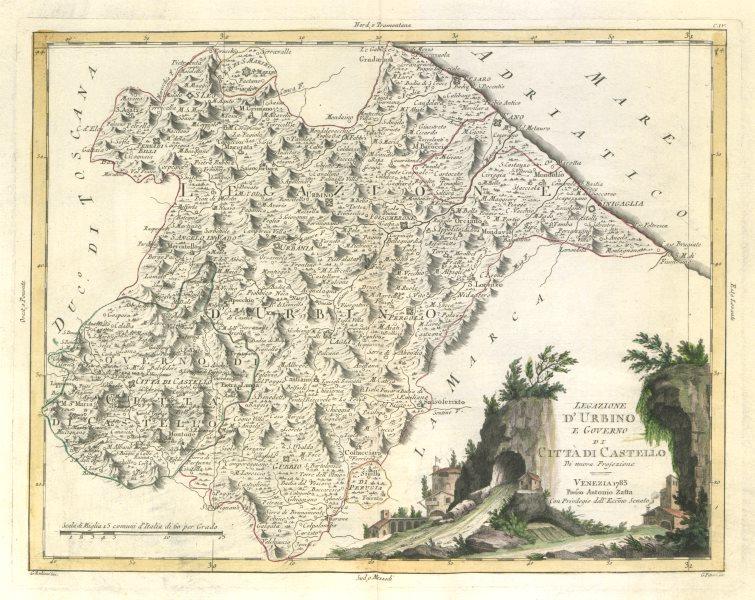 """Associate Product """"Legazione d'Urbino e Governo di Citta di Castello"""" Marche Umbria ZATTA 1784 map"""