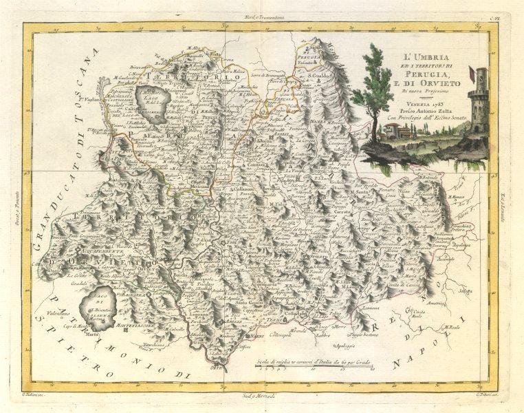 "Associate Product ""L'Umbria, Perugia e di Orvieto"". Italy. ZATTA 1784 old antique map plan chart"