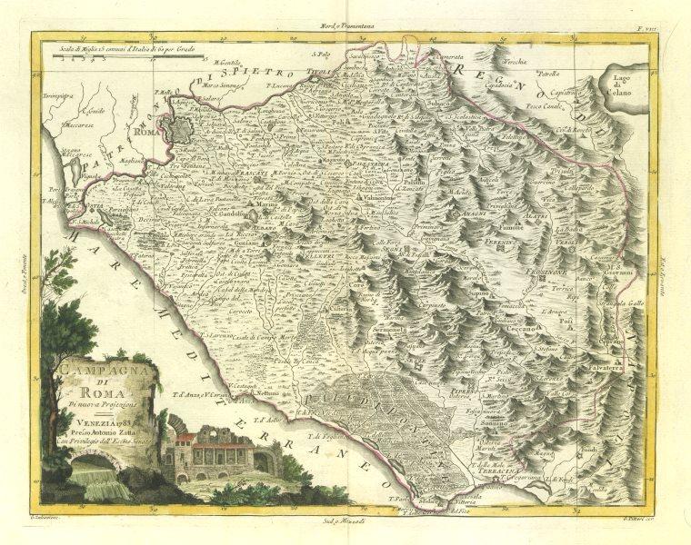"""Associate Product """"Campagna di Roma"""". Roman Campagna. Lazio, Italy. ZATTA 1784 old antique map"""