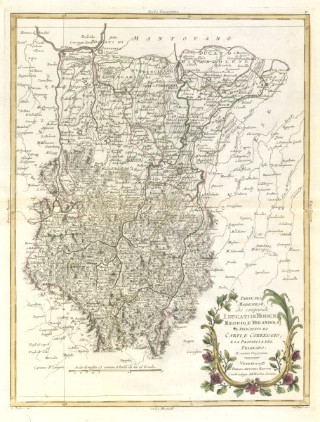 """Associate Product """"Parte del Modenese che comprende I Ducati di Modena, Reggio…"""". ZATTA 1784 map"""
