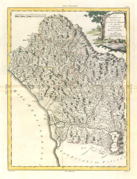 """Associate Product """"La Republica di Lucca con parte del Modenese…"""" Northern Tuscany. ZATTA 1784 map"""