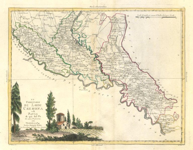 """Associate Product """"Li Territorii di Lodi, Cremona e di Pavia di qua dal Po"""". ZATTA 1784 old map"""