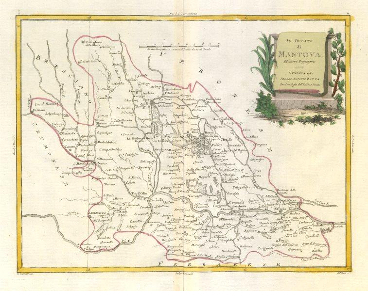 """Associate Product """"Il Ducato di Mantova"""". Duchy of Mantua, Lombardy, Italy. ZATTA 1784 old map"""