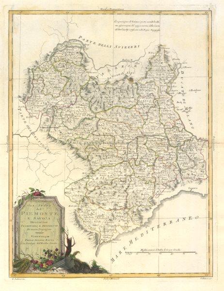 """Associate Product """"Gli Stati del Piemonte e Savoja"""". Savoie. French & Italian Alps. ZATTA 1784 map"""