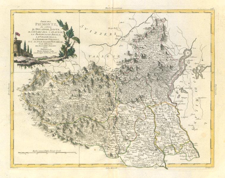 """Associate Product """"Parte del Piemonte, che contiene il Ducato di Aosta…"""" Turin &c. ZATTA 1784 map"""