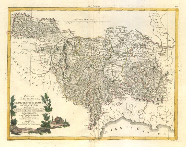 """Associate Product """"Parte del Piemonte, che contiene il Distretto di Torino…"""" Asti. ZATTA 1784 map"""