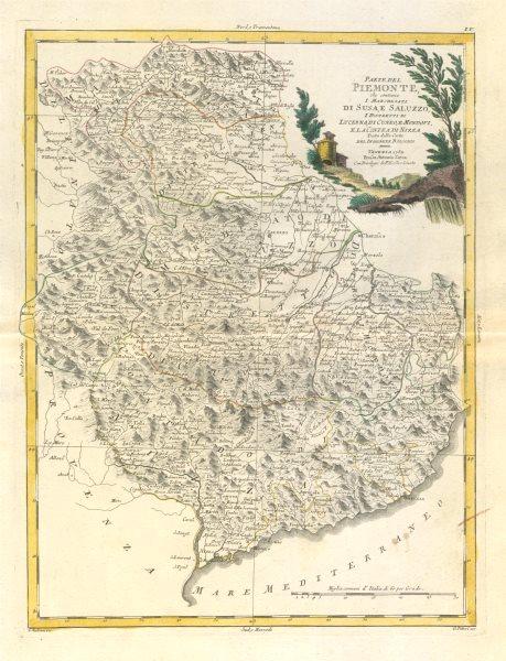 """Associate Product """"Parte del Piemonte, che contiene I Marchesati di Susa…"""" S. Alps. ZATTA 1784 map"""