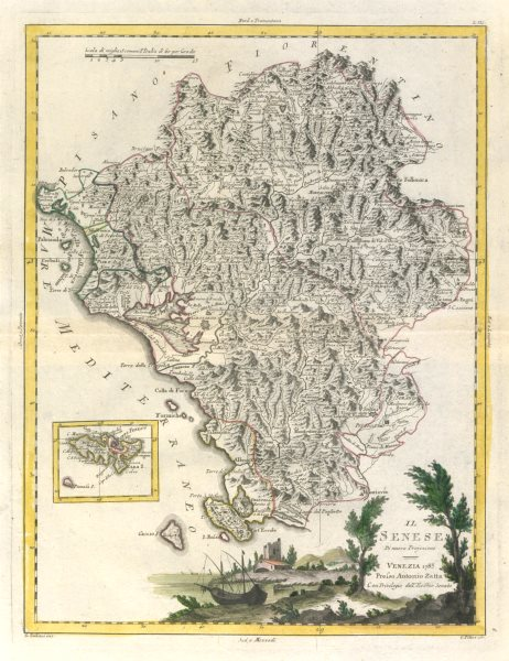 "Associate Product ""Il Senese"". Southern Tuscany. Siena Grosseto Livorno Elba. ZATTA 1784 old map"