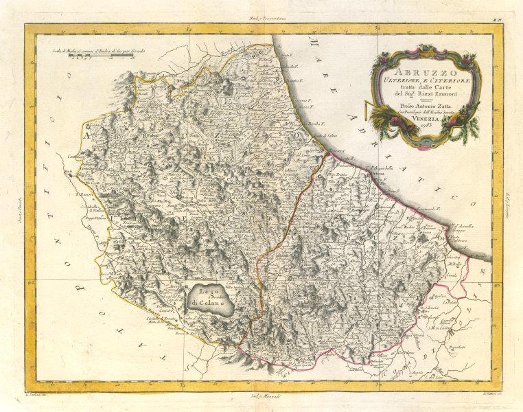 """Associate Product """"Abruzzo Ulteriore, e Citeriore…"""". Upper & Lower Abruzzo, Italy. ZATTA 1784 map"""