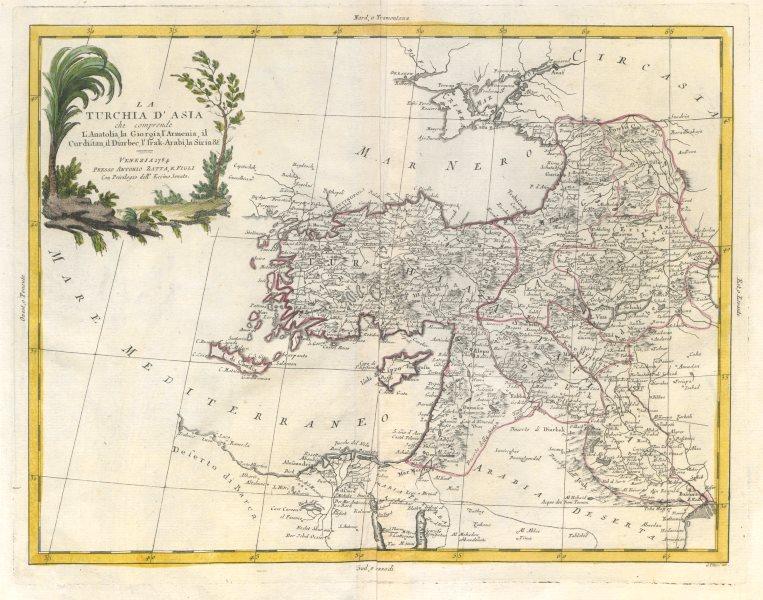 """Associate Product """"La Turchia d'Asia che comprende l'Anatolia…"""" Turkey & Levant. ZATTA 1785 map"""