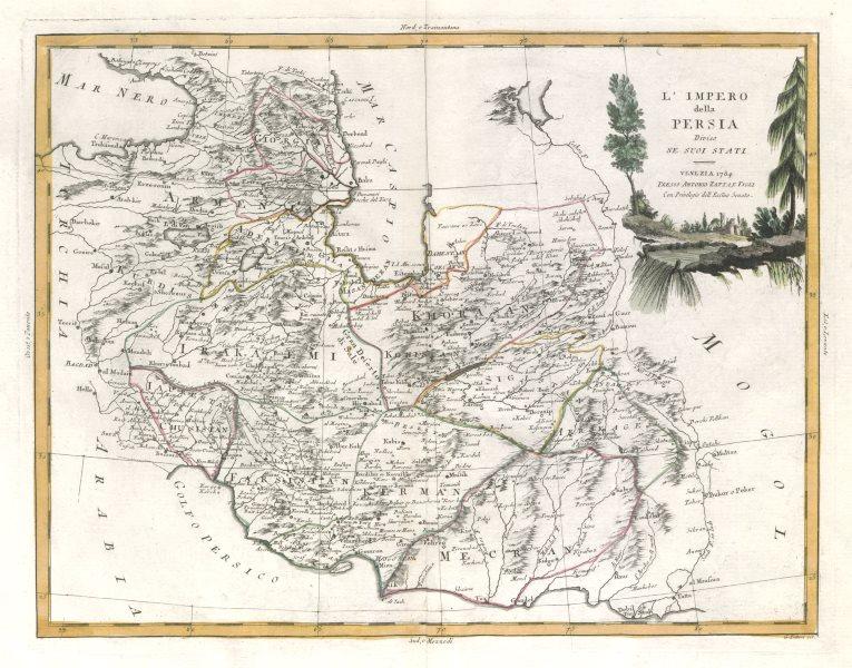 """Associate Product """"L'Impero della Persia diviso ne suoi stati"""". Iran. ZATTA 1785 old antique map"""