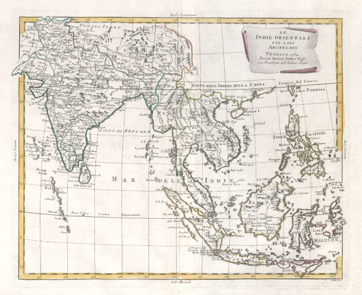 """Associate Product """"Le Indie Orientali…"""". South Asia, Indochina & East Indies. ZATTA 1785 old map"""