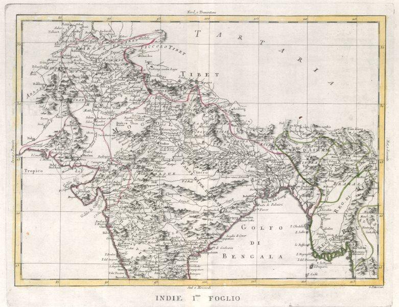 """Indie Foglio I"". Mughal Empire. India Pakistan Nepal Bangladesh. ZATTA 1785 map"