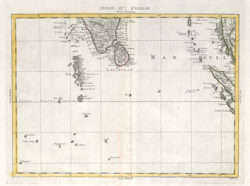 """Associate Product """"Indie Foglio II"""". Eastern Indian Ocean. Maldives Sumatra Mergui. ZATTA 1785 map"""