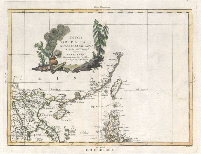 "Associate Product ""Indie Orientali…"" South China Sea. Luzon Guangdong Macao Hainan. ZATTA 1785 map"