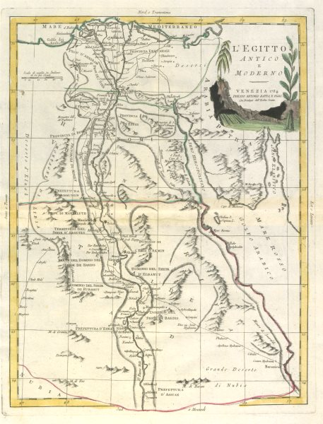 "Associate Product ""L'Egitto Antico e Moderno"". Ancient & modern Egypt. ZATTA 1785 old map"