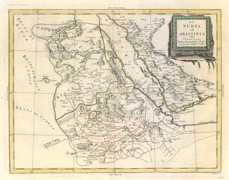 """Associate Product """"La Nubia ed Abissinia"""". Red Sea Ethiopia Sudan Eritrea Arabia. ZATTA 1785 map"""