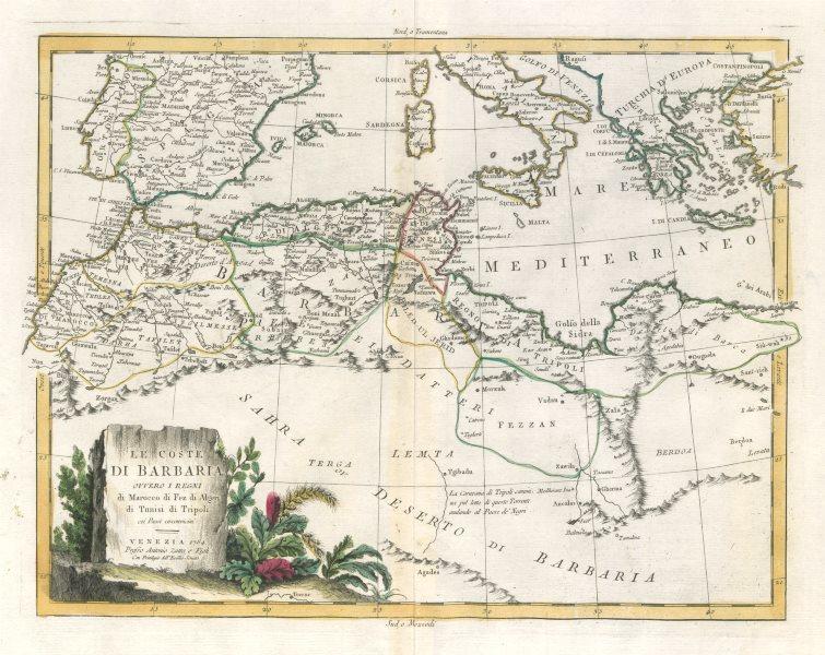 """Associate Product """"Le Coste di Barbaria…"""". North Africa, Mediterranean & S. Europe. ZATTA 1785 map"""