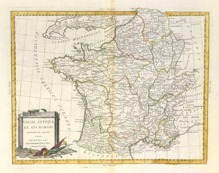"Associate Product ""Gallia Antiqua…"" Roman Gaul. Ancient France Switzerland Belgium. ZATTA 1785 map"