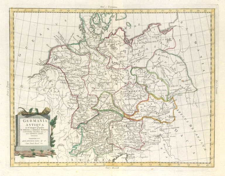"""""""Germania Antiqua…"""". Ancient Germany divided into tribes. ZATTA 1785 old map"""