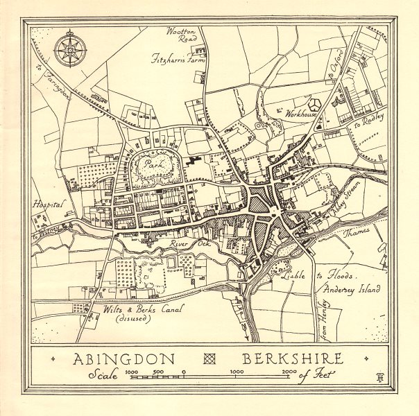 Associate Product Town plan of ABINGDON, Oxfordshire. Thames Valley 1929 old vintage map chart
