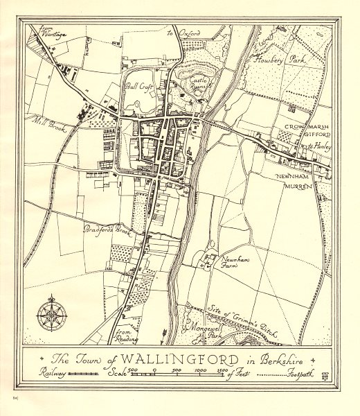 Associate Product Town plan of WALLINGFORD, Oxfordshire. Thames Valley 1929 old vintage map