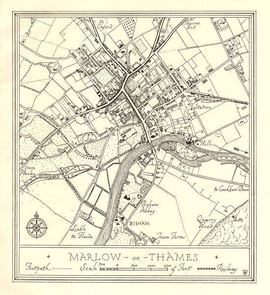 Associate Product Town plan of MARLOW, Buckinghamshire. Thames Valley 1929 old vintage map chart