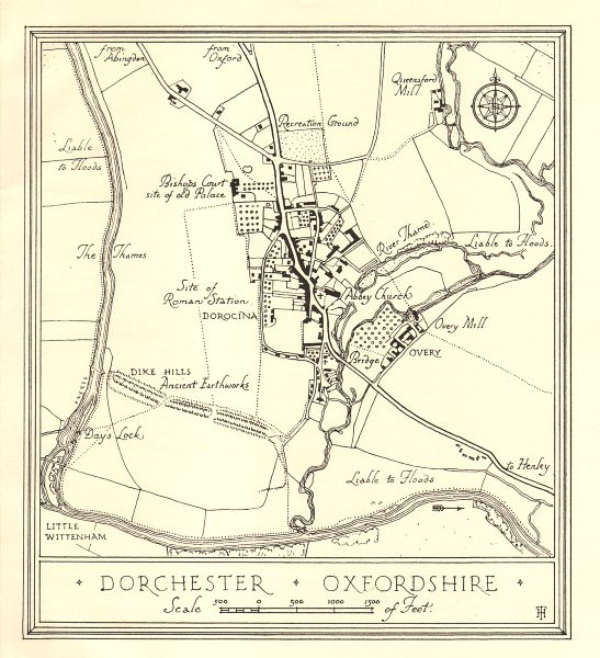 Associate Product Town plan of DORCHESTER, Oxfordshire. Thames Valley 1929 old vintage map chart
