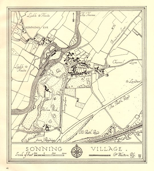 Associate Product Town plan of SONNING village, Berkshire. Thames Valley 1929 old vintage map