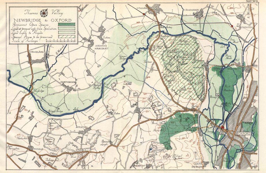 Associate Product THAMES VALLEY. Standlake - Eynsham - Wytham - Oxford. Oxfordshire 1929 old map