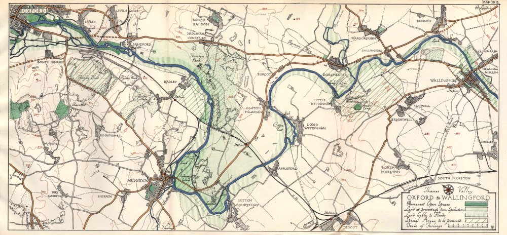 Associate Product THAMES VALLEY. Oxford - Iffley - Abingdon - Dorchester - Wallingford 1929 map