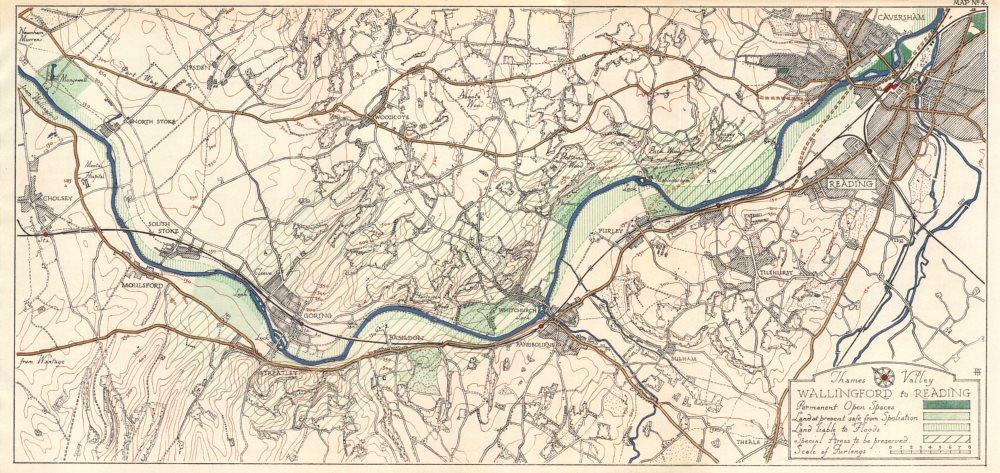 Moulsford Pangbourne Caversham 1929 map Goring THAMES VALLEY Reading