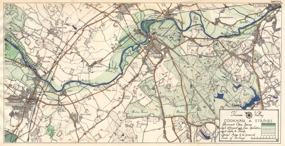 Associate Product THAMES VALLEY. Maidenhead - Bray - Windsor - Slough - Egham - Staines 1929 map