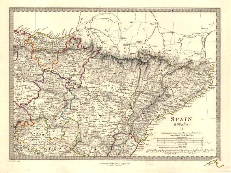 Associate Product SPAIN NORTH EAST. Cataluna Aragon Soria Navarra Guipozcoa Bizcaya. SDUK 1846 map