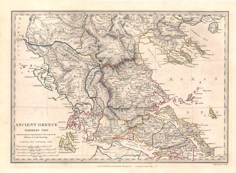 Associate Product ANCIENT GREECE. Euboea Epirus Aetolia Thessalia Macedonia. SDUK 1846 old map