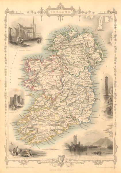 Associate Product IRELAND. St Patrick's Dublin Killarney round tower views. RAPKIN/TALLIS 1851 map