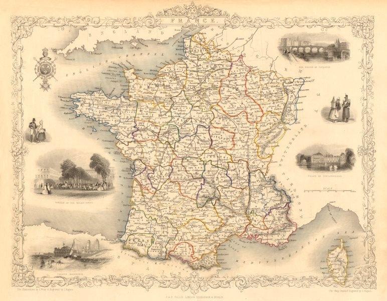 Associate Product FRANCE. Provinces. Without Comté de Nice & Savoy/Savoie. RAPKIN/TALLIS 1851 map