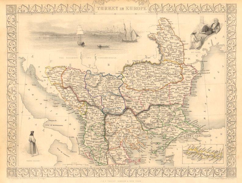 Associate Product TURKEY IN EUROPE. Constantinople view. Rumilia Balkans. TALLIS & RAPKIN 1851 map