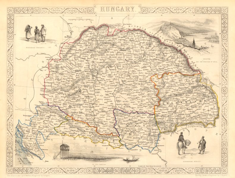 Associate Product HUNGARY. Buda/Pesth view. Banat Sclavonia Transylvania. TALLIS & RAPKIN 1851 map