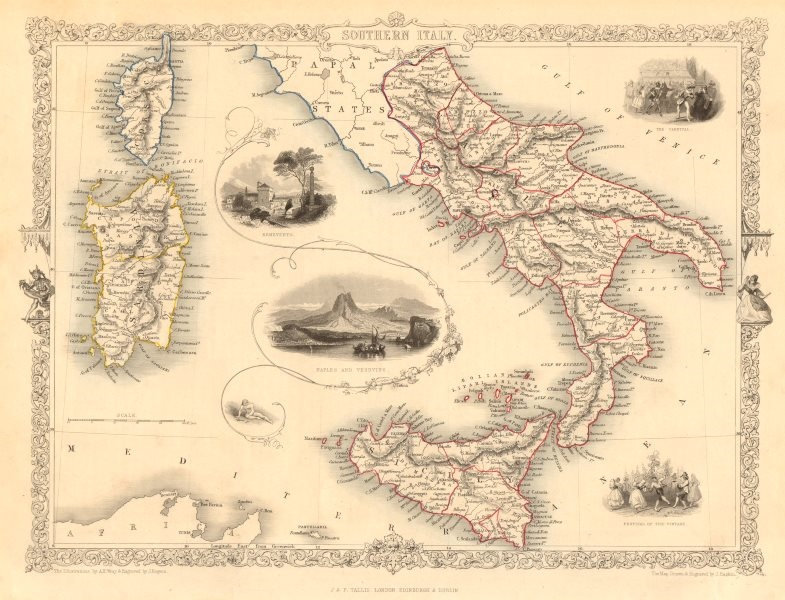 SOUTHERN ITALY. Naples/Vesuvius. Sicily Sardinia Corsica. RAPKIN/TALLIS 1851 map