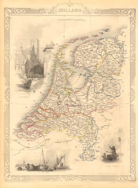 Associate Product NETHERLANDS. 'Holland'. Provinces. Rotterdam view. TALLIS & RAPKIN 1851 map