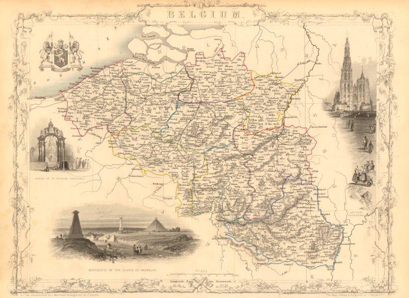 Associate Product BELGIUM. with Luxembourg. Antwerp & Waterloo vignettes. TALLIS & RAPKIN 1851 map