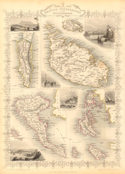 Associate Product BRITISH MEDITERRANEAN POSSESSIONS. Gib Malta Corfu Zante. RAPKIN/TALLIS 1851 map