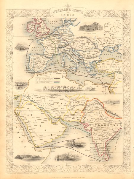 Associate Product OVERLAND ROUTE TO INDIA. Ship France Germany Euphrates. TALLIS & RAPKIN 1851 map