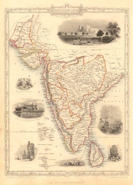 Associate Product SOUTHERN INDIA. Amber Fort, Jaipur & Gol Gumbaz, Bijapur. RAPKIN/TALLIS 1851 map