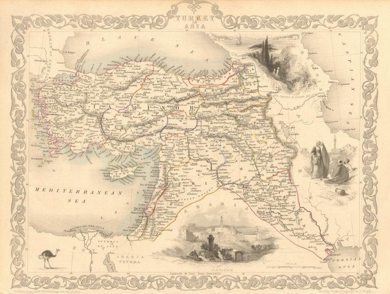 Associate Product TURKEY IN ASIA. Cyprus Levant Iraq Kurdistan. Ottoman. TALLIS & RAPKIN 1851 map