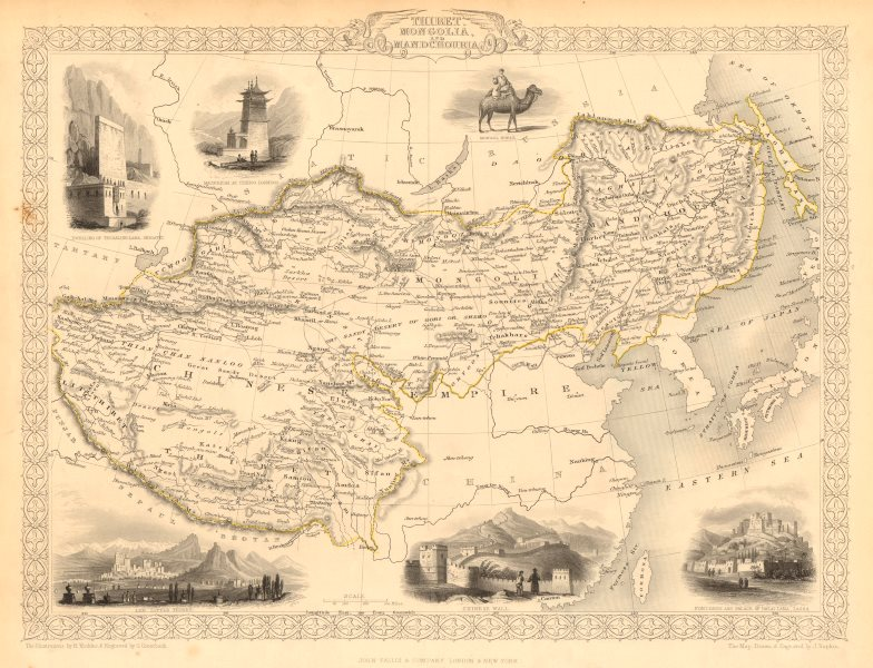 Associate Product THIBET MONGOLIA MANDCHOURIA.Tibet Manchuria Ladakh China. RAPKIN/TALLIS 1851 map