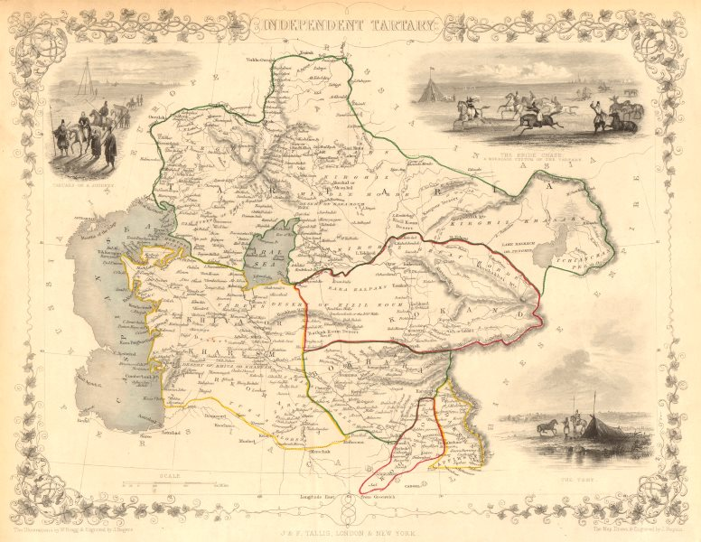 Details about INDEPENDENT TARTARY. Khiva Bokhara Kokand Central Asia.  TALLIS & RAPKIN 1851 map